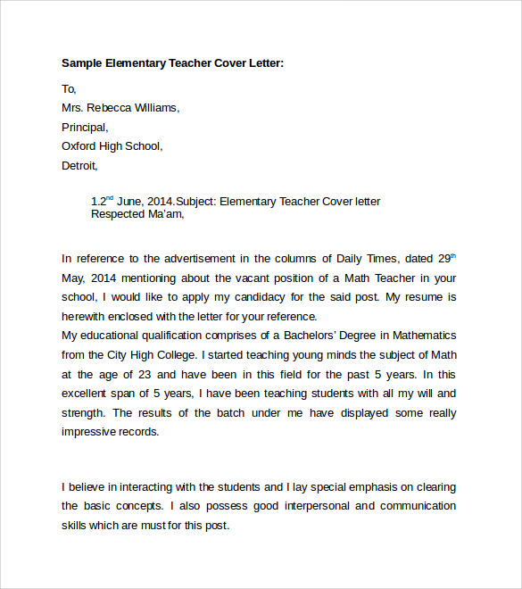 Sample Cover Letter Elementary Teacher