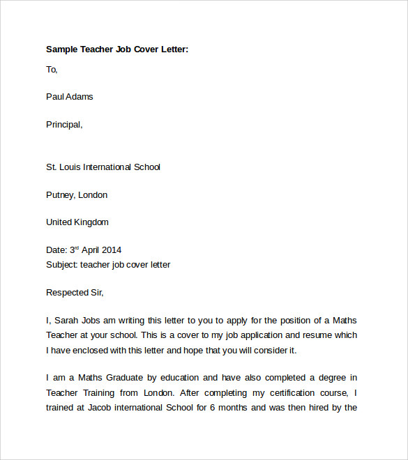Cover Letter For Art Teacher Job Cover Letter Templates Pinterest Esl  Teacher Cover Letter Sample  Cover Letter Template For Job Application