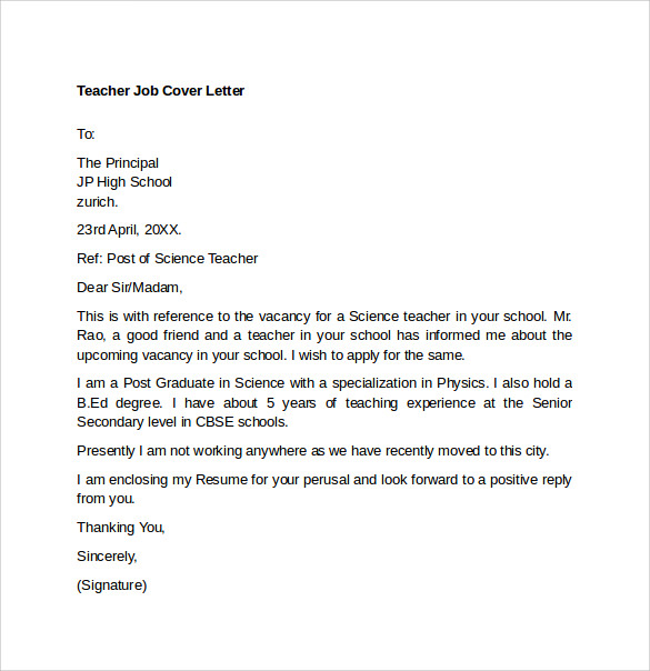 Teacher Cover Letter Template U2013 9+ Download Free Documents In Word