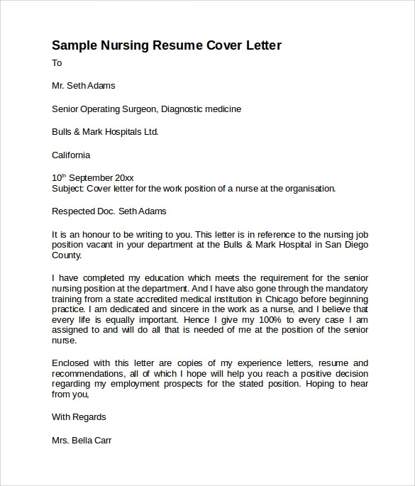 Nursing Resume Cover Letter | Sample Nursing Cover Letter Template 8 Download Free Documents In