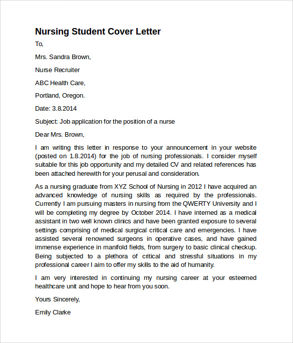 Sample Nursing Cover Letter Template 8 Download Free Documents