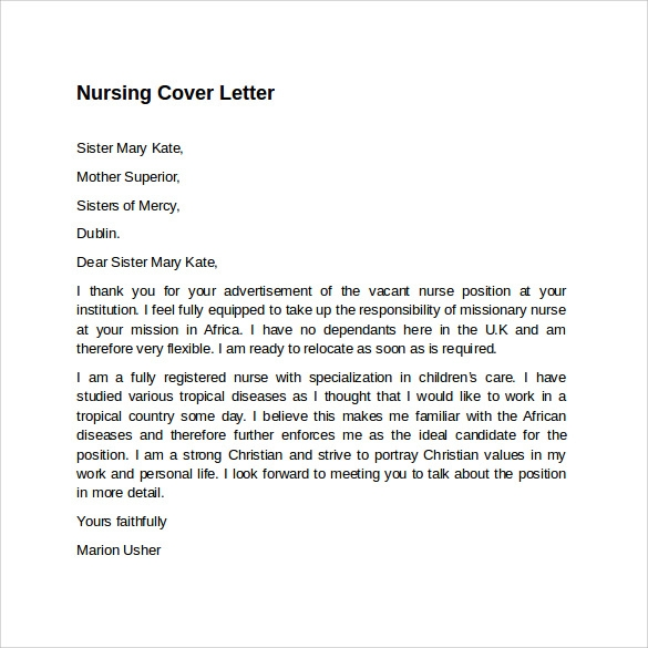 Sample Nursing Cover Letter Template - 8+ Download Free Documents ...