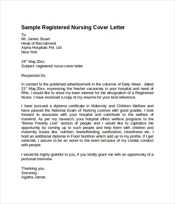 Sample Nursing Cover Letter Template   Download Free Documents