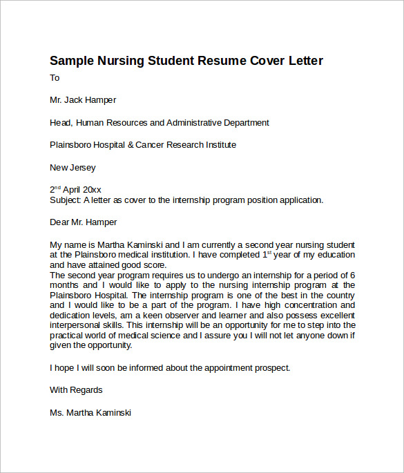 8 Sample Nursing Student Resumes: Sample Nursing Cover Letter Template