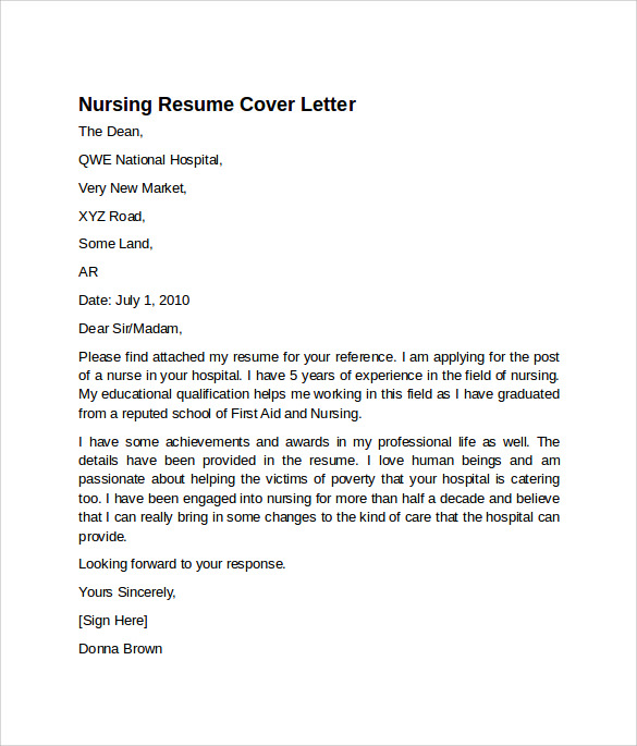 Superb Simple Nursing Cover Letter Template