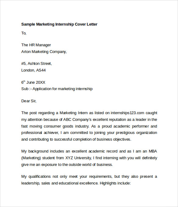 marketing internship cover letter examples