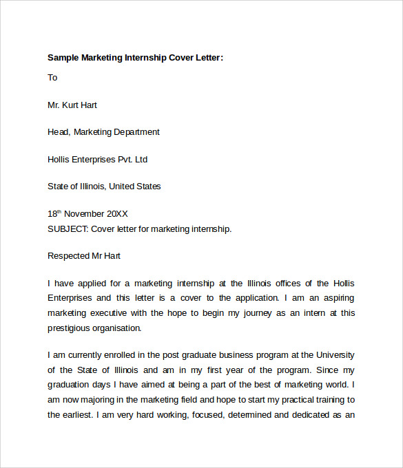 cover letters for marketing internships Cover letter for internship writing a cover letter to help you land a great internship here's an example of a pitch that hits all the right notes.