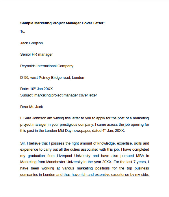 Sample marketing cover letter template 8 download free for Sample cover letter for project officer