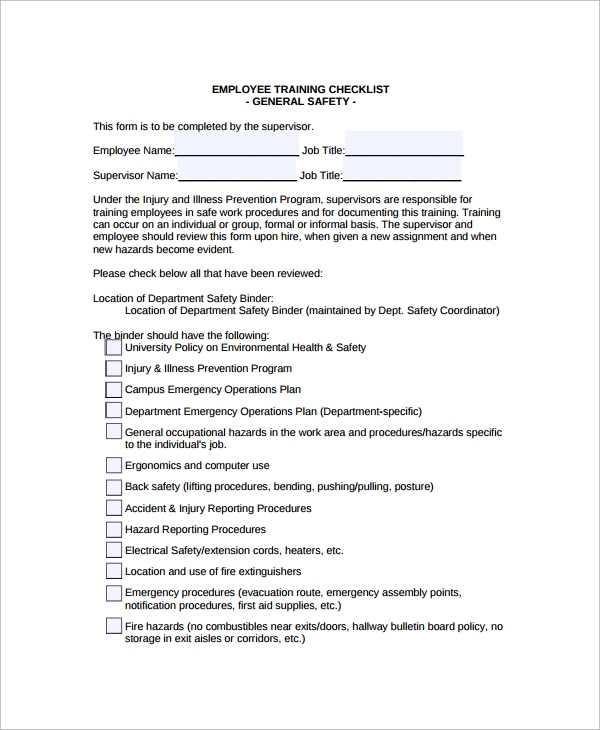 Training Checklist Sample   Documents In Pdf Word