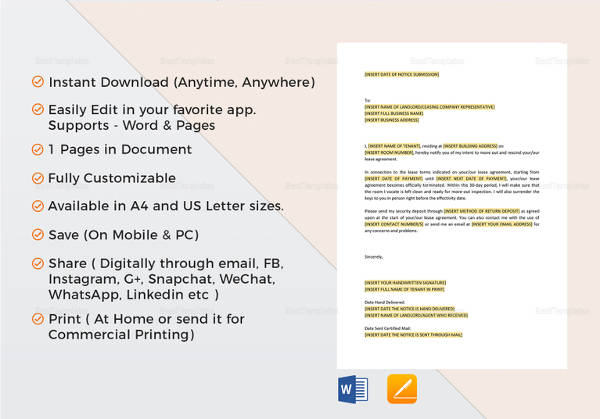 Days Notice Letter To Landlord   Download Free Documents In Word