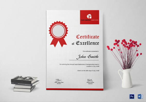 badminton excellence certificate template
