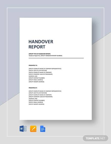 Sample Handover Report - 16+ Documents in PDF, Word, Docs