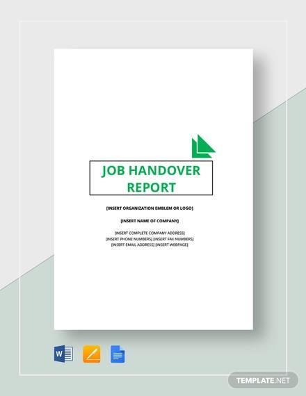job handover report template