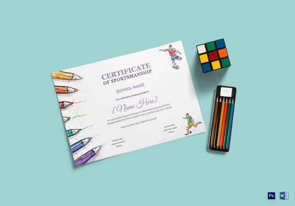 kids sports award certificate template