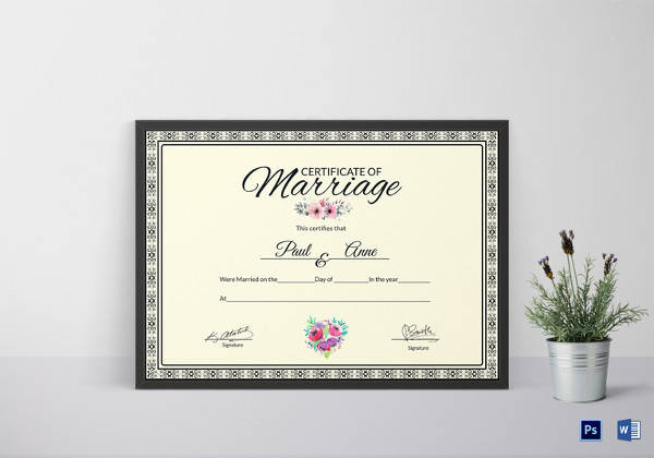 Vintage Marriage Certificate Design Template In Psd Word: 28+ Microsoft Certificate Templates