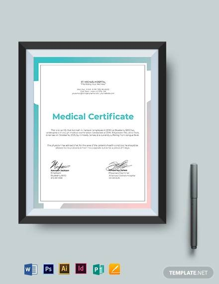 medical certificate template for absent