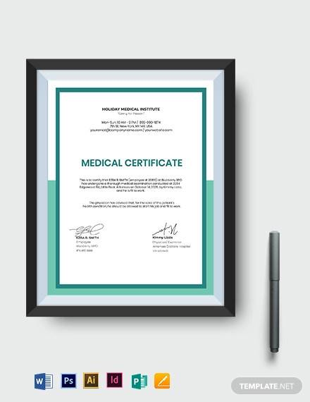 medical certificate template for work