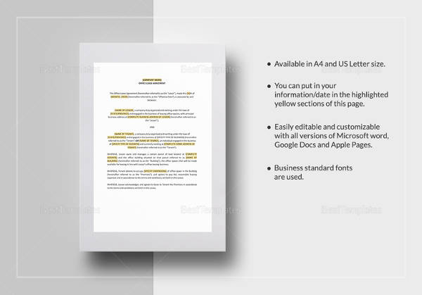 sample office lease agreement template