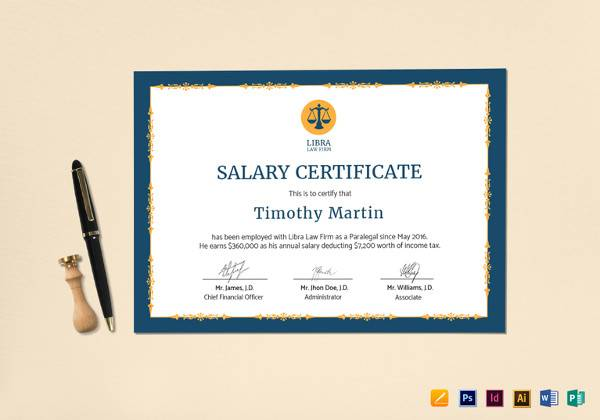 sample salary certificate template