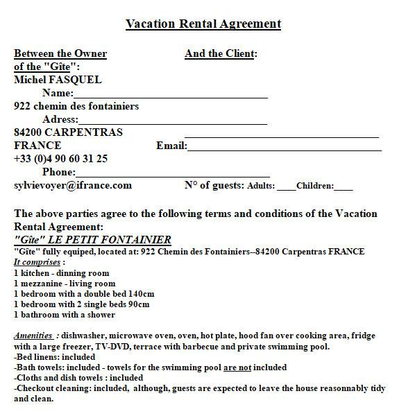 sample vacation rental agreement in ms word