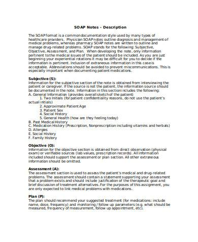 simple subjective objective assessment planning note