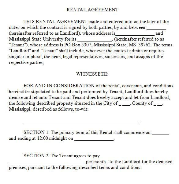 standard lease agreement in ms word