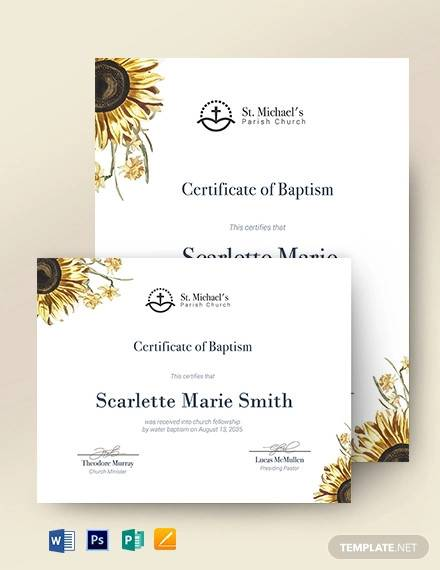 sunflower baptism certificate template