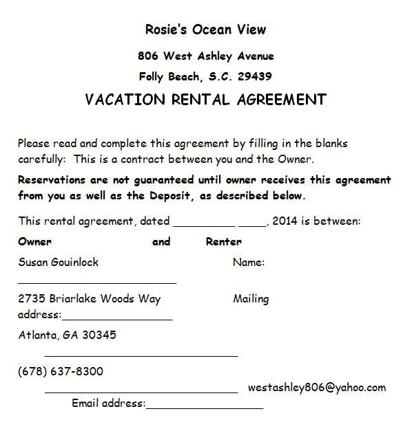 vacation rental agreement in ms word