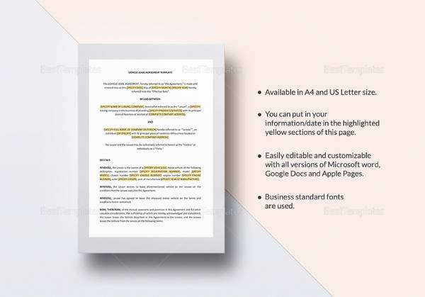 vehicle lease agreement template1