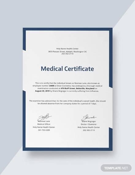 free medical certificat