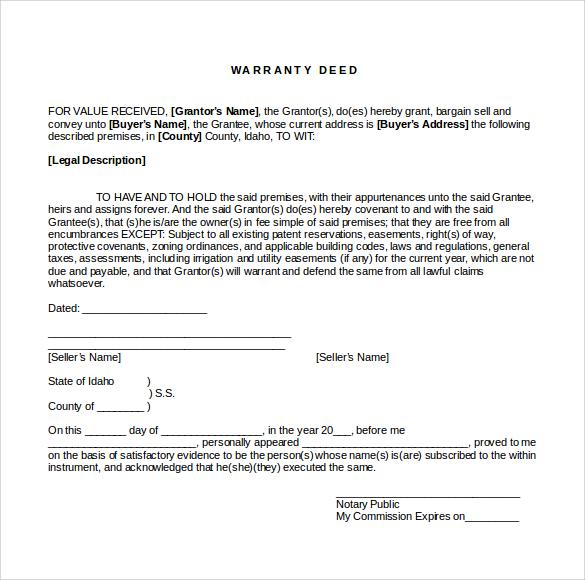 warranty deed form word format