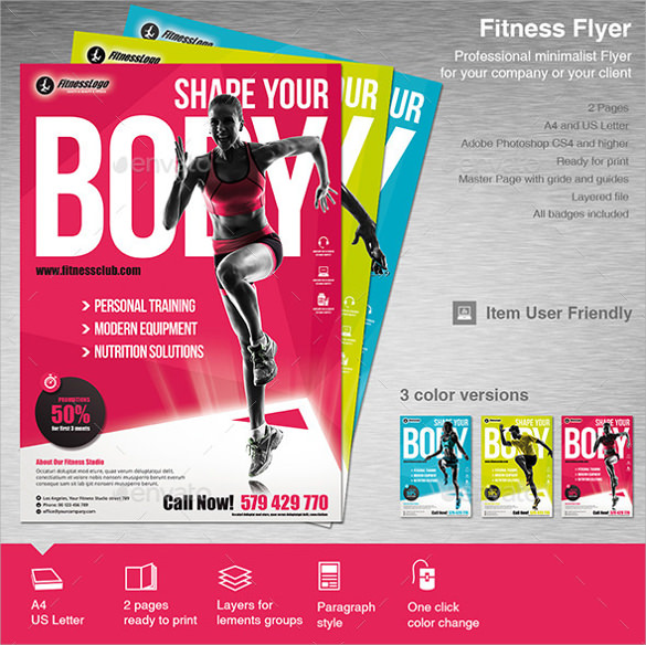 10 Fitness Flyers PSD Vector EPS – Fitness Flyer