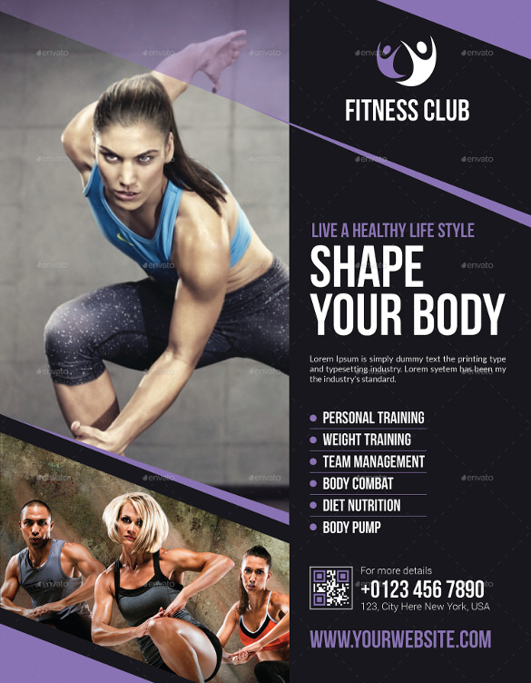 10 Fitness Flyers PSD Vector EPS – Fitness Brochure Template