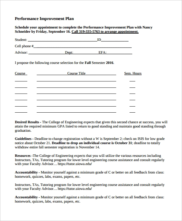 student improvement plan template 13 improvement plan templates sample templates