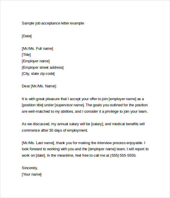 Sample Job Letter From Employer
