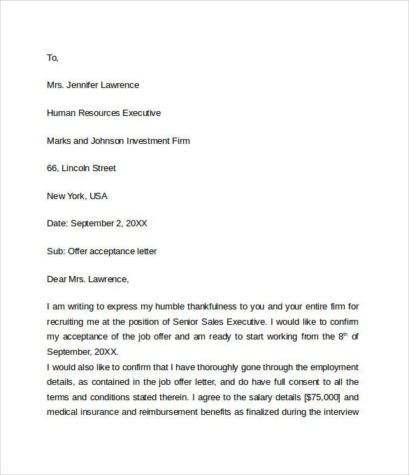 sample job offer acceptance letter     download free documents in    sample job offer acceptance letter