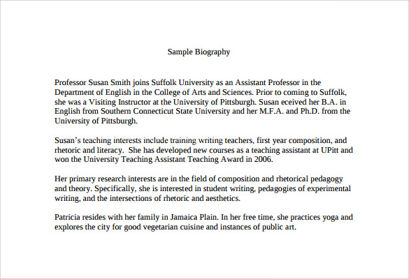 Write my biographical essay samples