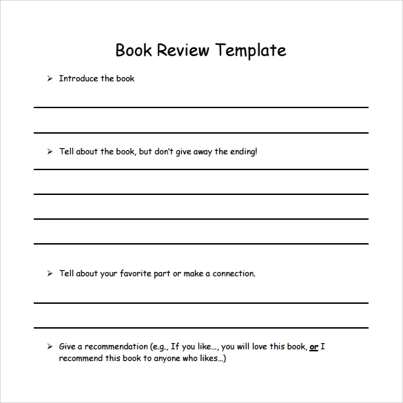 Simple Book Review Template  Printable Book Review Template