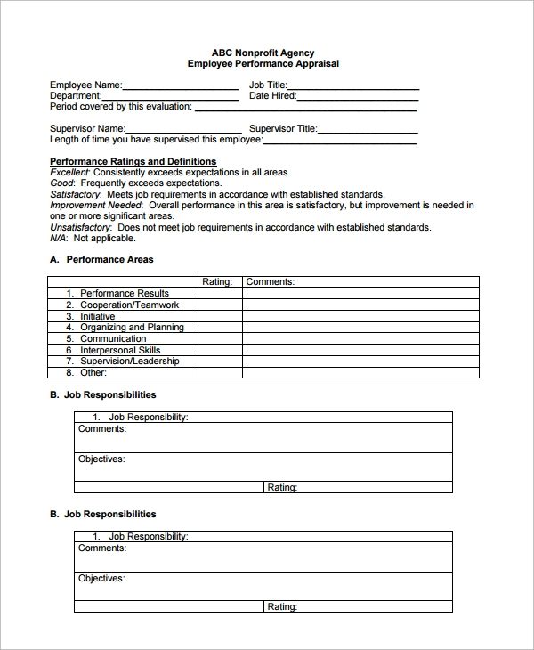 9 employee performance review templates sample templates for Employee performance reviews templates