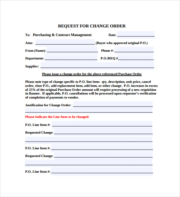 Sample Change Order Template - 10+ Free Documents In Pdf , Word