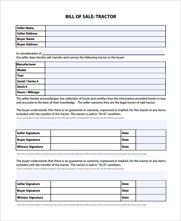 Sample Equipment Bill Of Sale Template - 8+ Free Documents