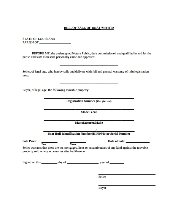 boat equipment bill of sale template