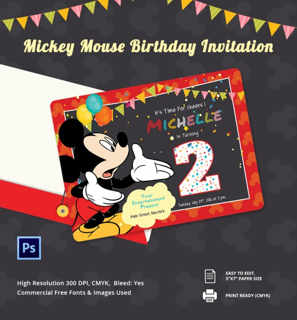 micky mouse invitation card template