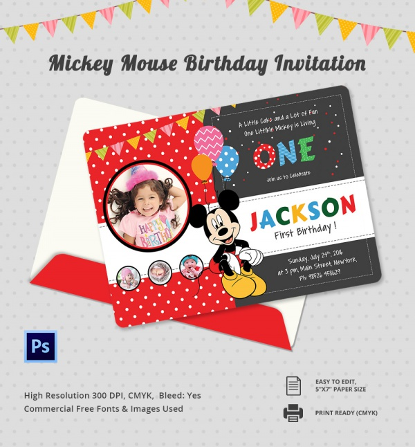 Sample Mickey Mouse Invitation Template 13 Download Documents In