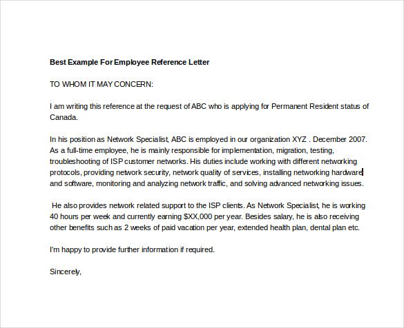 recommendation letter template microsoft word – Reference Letter Sample for Employment
