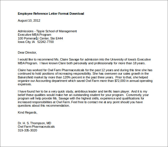 employee reference letter 10 free word documents download