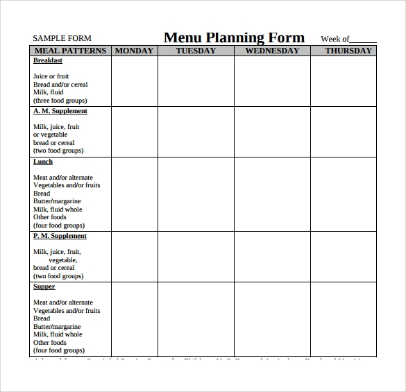 Restaurant Menu Planning Sheet