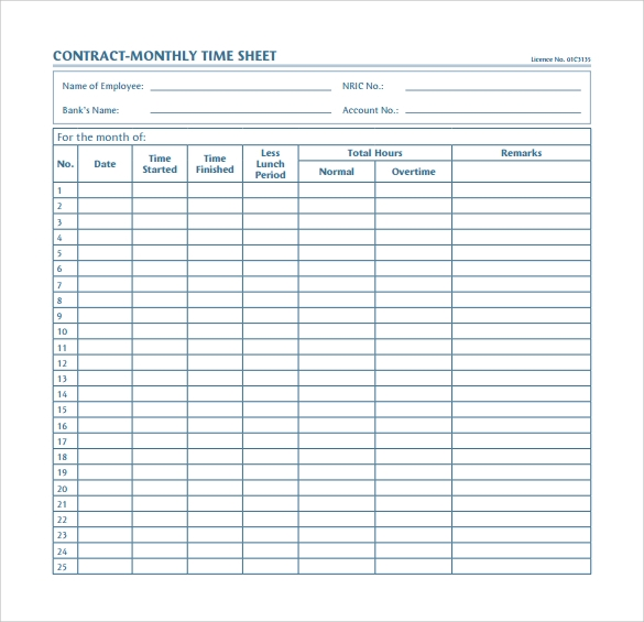 Monthly Time Sheet Calculator Templates   Download Free