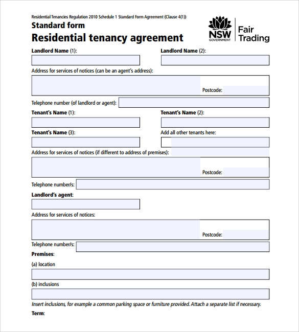 Printable Lease Agreement 10 Samples Examples Format