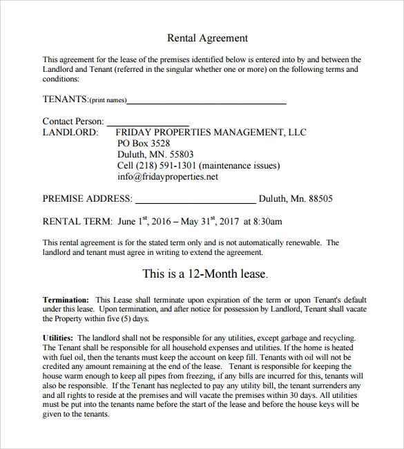 11 Printable Lease Agreement Samples Examples Format Sample